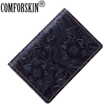 Guaranteed The First Layer Of Cow Leather Vintage ID Card Case Wallet Brand Embossing Credit Holder For Women 2017 Hot Sale