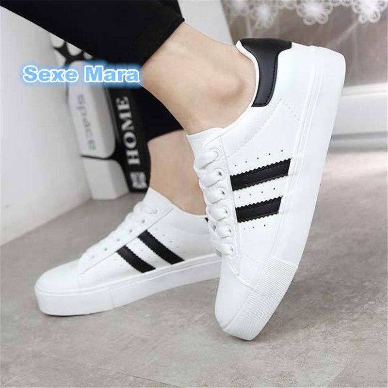 Løpesko til kvinners skinn Sneakers damestøvler Hvit Lav help flat Sportsko kvinner Superstjerne sko til kvinner