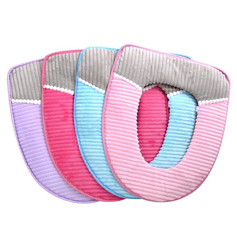 Image 3 - 38cmX43cm Velvet leather Washable Soft Toilet Cushion Toilet Mat Thick Knitted Bathroom Accessories Standard Toilet Seat Cover-in Toilet Seat Covers from Home & Garden