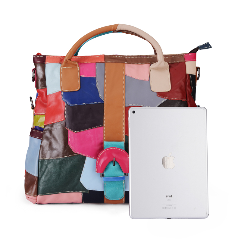 ea6d0391a2 Aliexpress.com   Buy LOMANTINA Patchwork Ladies Handbag Genuine Leather  Tote Bag Fold Over Female Messenger Bags Women s Big Shoulder Bag Hobos  from ...