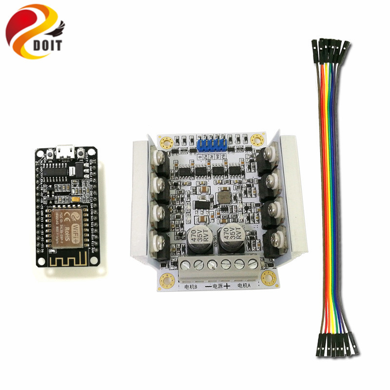 все цены на  DOIT ESP-12F ESP8266 NodeMCU WiFi Development Board + DC Big Power Motor Drive Module for Control 2wd/4wd Robot Tank Car RC Toy  онлайн