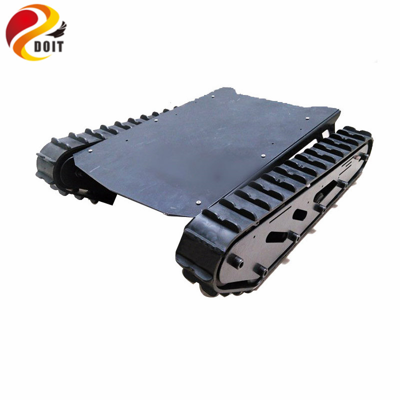 DOIT Metal Tank Chassis with Rubber Crawler Belt Tracked Vehicle Excavator Robot Chassis Remote Control DIY RC Toy