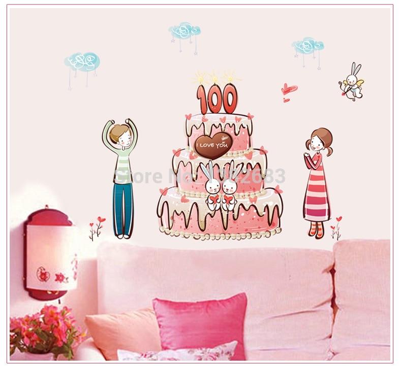 High Quality Cartoon Cake Happy Birthday Diy Removable Art Vinyl