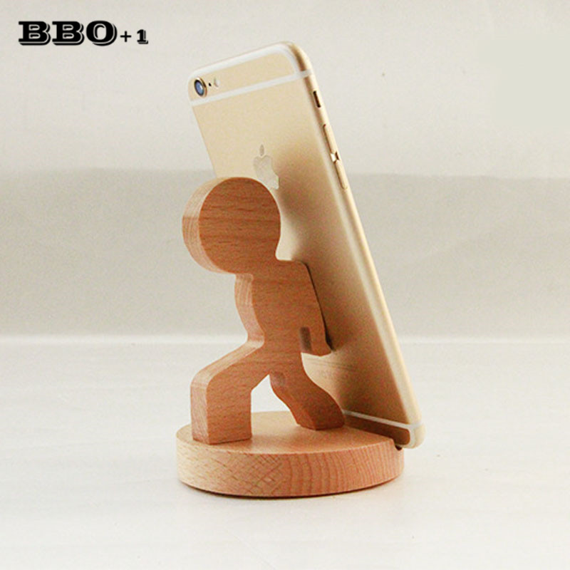 Wooden Phone Stand ~ Creative pcs mini wooden mobile phone holder stand base