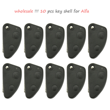 10Pcs 2 Buttons replacement Car Key Shell for Alfa Romeo 147 156 GT replacement key shell Uncut Blade Alfa dedicated keys