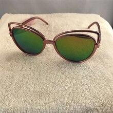2017 new cat eye vintage marca gafas de sol de las mujeres/de los hombres de verano marco hueco de cristal de steampunk gafas de sol mujer