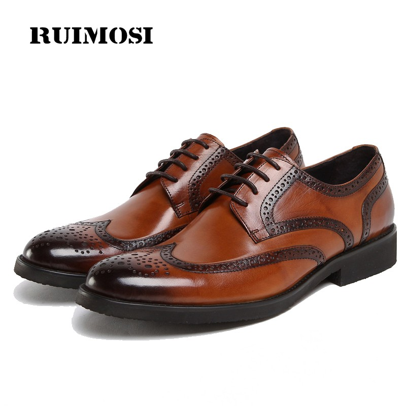 RUIMOSI New Vintage Brand Man Formal Dress Shoes Genuine Leather Cow Brogue Oxfords British Round Toe Men's Wing Tip Flats DF81