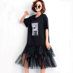 Image 3 - Oladivi Plus Size Vrouwen Mesh Shirt Jurk Mode Print Zomer Korte Mouw Casual Midi Jurken Vrouwelijke Losse Tunieken Zwart 4XL 3XL