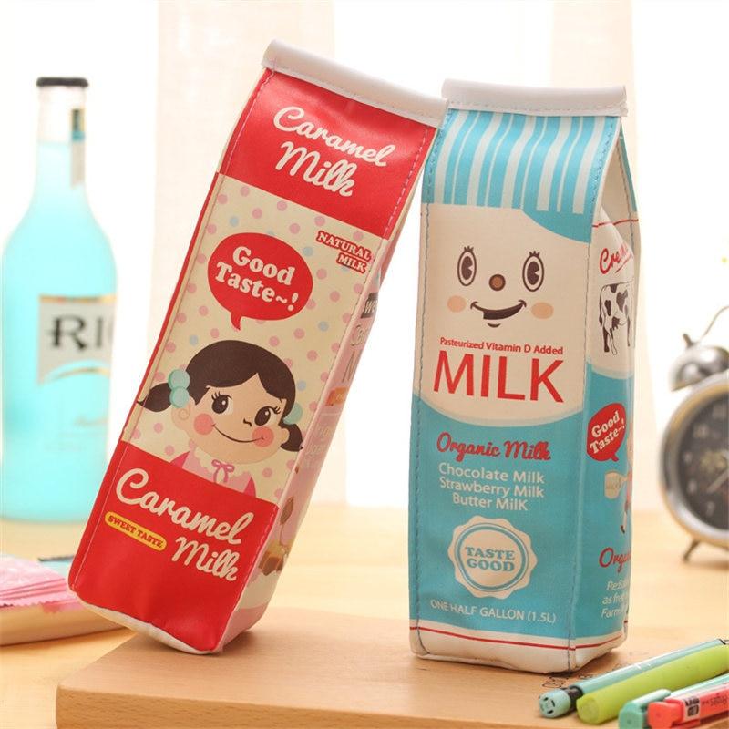 Korean Milk Cute Pencil Case Lovely Kids Stationery Store Pen Bag Pouch Purse Funny Kawaii School Holder Pencilcase Items Kawai