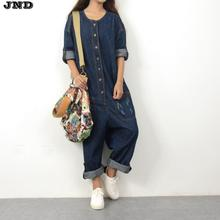 Free Shipping 2017 New Fashion Denim Jumpsuit Bib Pants Trousers Jeans Long O-neck Jumpsuits With Pockets Plus Size Pants Women