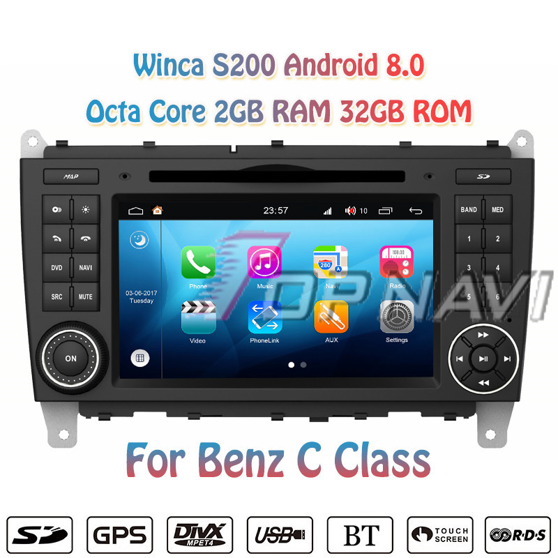 Topnavi Octa Core S200 Android 8.0 Car DVD Multimedia Player for Benz C class Audio Radio Stereo 2DIN GPS Navigation Autovideo