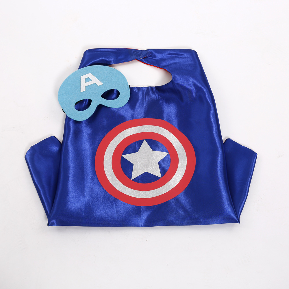Captain America Cosplay Costume Red blue double Cloak Children Halloween Funny Cloak Party Dress Birthday Gift Cloak+Mask 2pcs