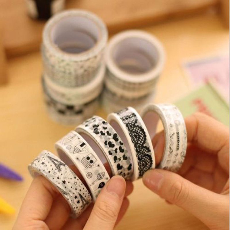 10 PCS/Set Personality Roll DIY Washi Paper Decorative Sticky Paper Masking Tape Do It By Youself