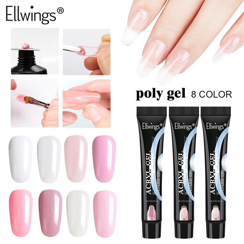 Ellwings 15g Builder Gel Poly Gel Kit Nail Extension Soak Off UV LED Gel Slip Solution Acrylic Building Gel Nail Art Tips