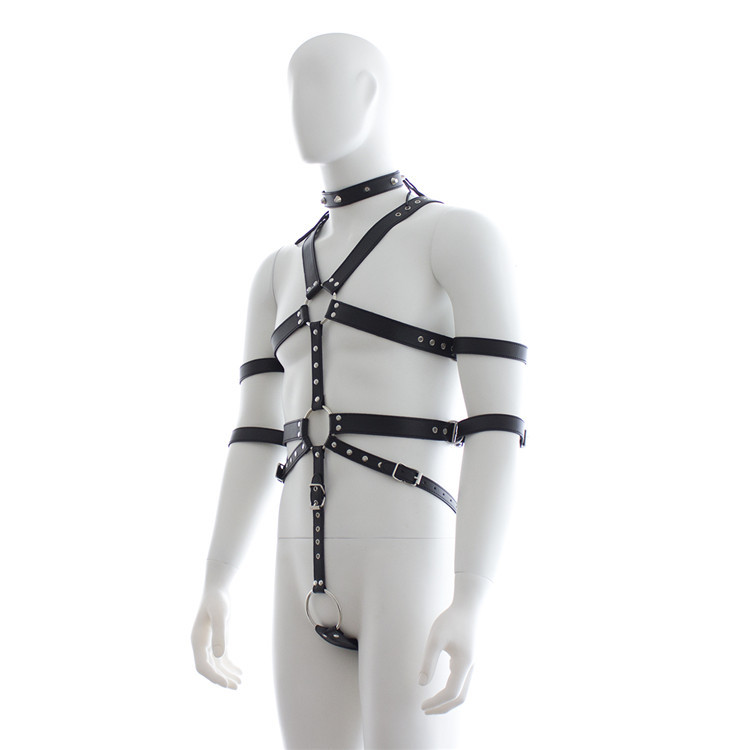 male body leather harness bondage belt slave restraints neck hand bundled straps cuffs bdsm fetish sex toys for men adult games bdsm leather collar hand wrist cuffs bondage slave restraints belt harness in adult games fetish sex toys for women