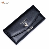Nucelle Brand Design Fashion Causal Gold Barcode Stamping Women Girls Ladies Cow Leather Long Wallet Cards
