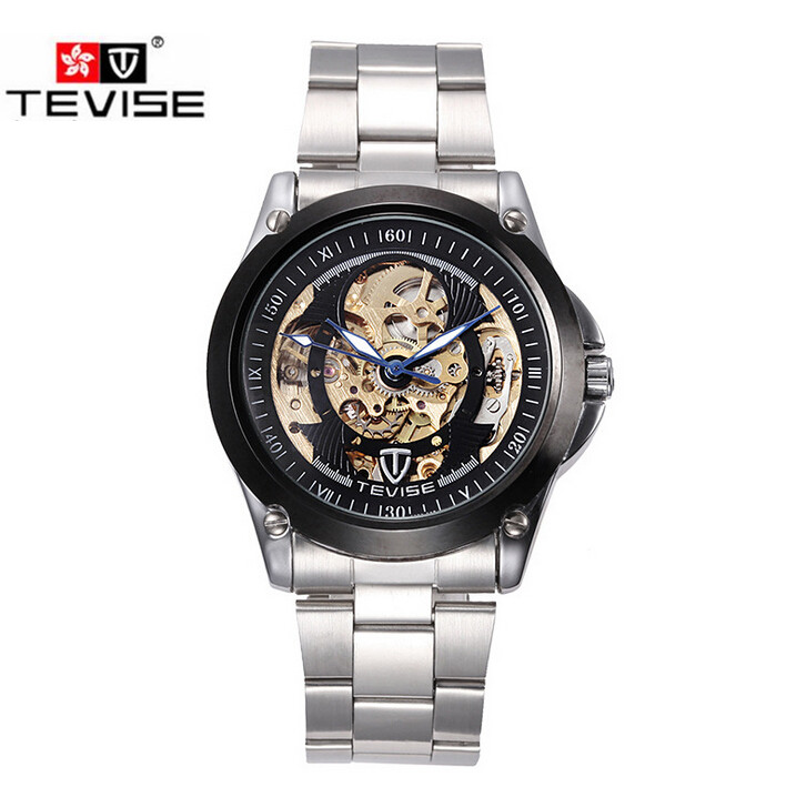 Mens Watches Top Brand Luxury Watch Automatic Men Skeleton Mechanical Wristwatch Gift Box Free Ship original tevise famous men s watches brand luxury men s 6 hands auto mechanical wristwatch gift box free ship