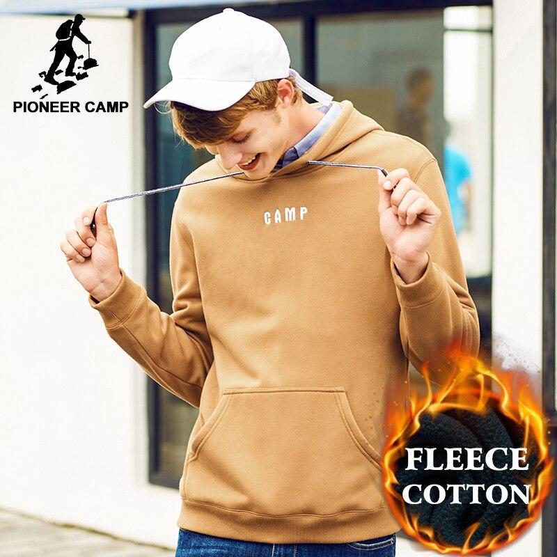 Pioneer Camp marca hoodies men top quality 100% algodão grosso quente com capuz moda masculina moletom com capuz de lã camisola hoodies AWY702307