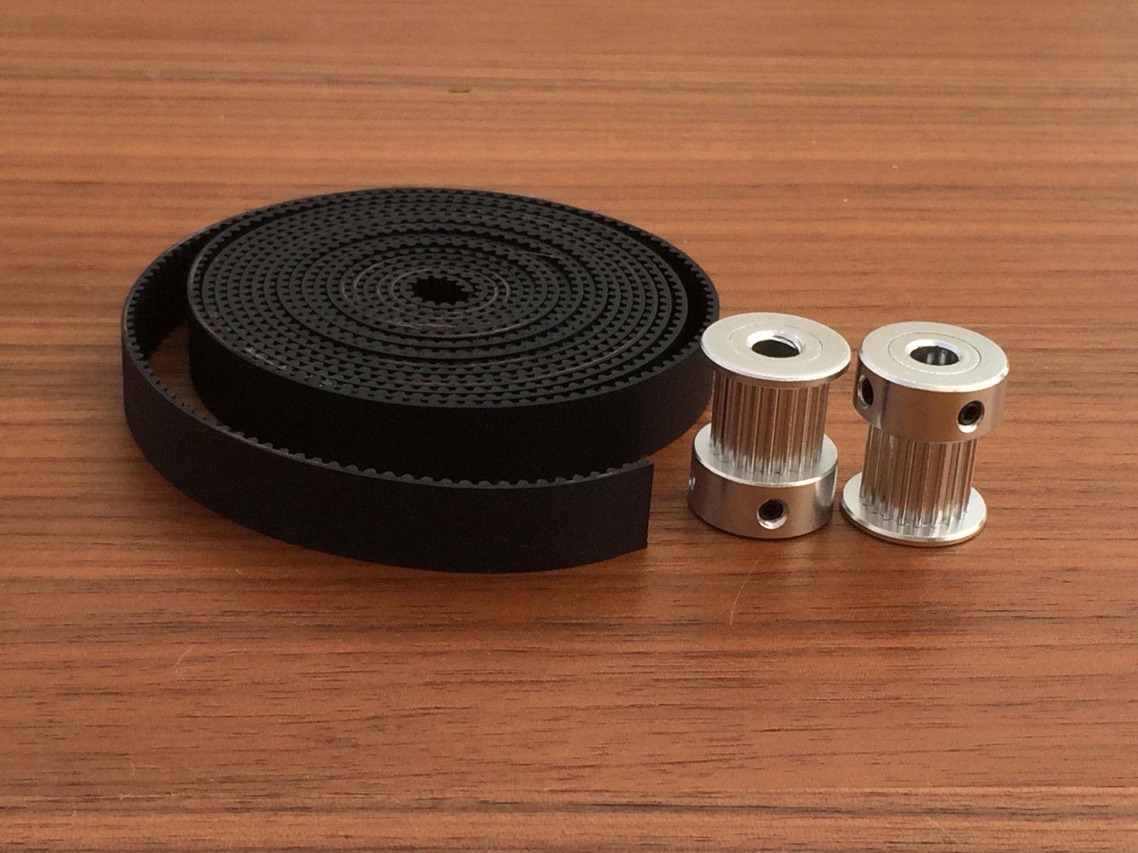 5M GT2 10mm Timing Belt + 2pcs 20 Teeth 5mm Bore Pulley 10mm Wide CNC / 3D Printer Part