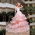 2017 Pink Tiered Cloud Ball Gown Wedding Dress Princess Puffy Women Bride Gown Spaghetti Strap Lace Up Tulle Wedding Dresses