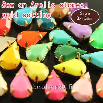 20 piezas 8x13mm lágrima sólida caramelo acrílico piedras para coser con ajustes de cobre dorado cuentas diy para vestido de ropa