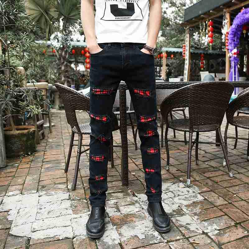 #1503 2016 Korean Punk White jeans men Fashion Mens ripped jean Denim biker jeans Black ripped jeans men Hip hop Famous brand
