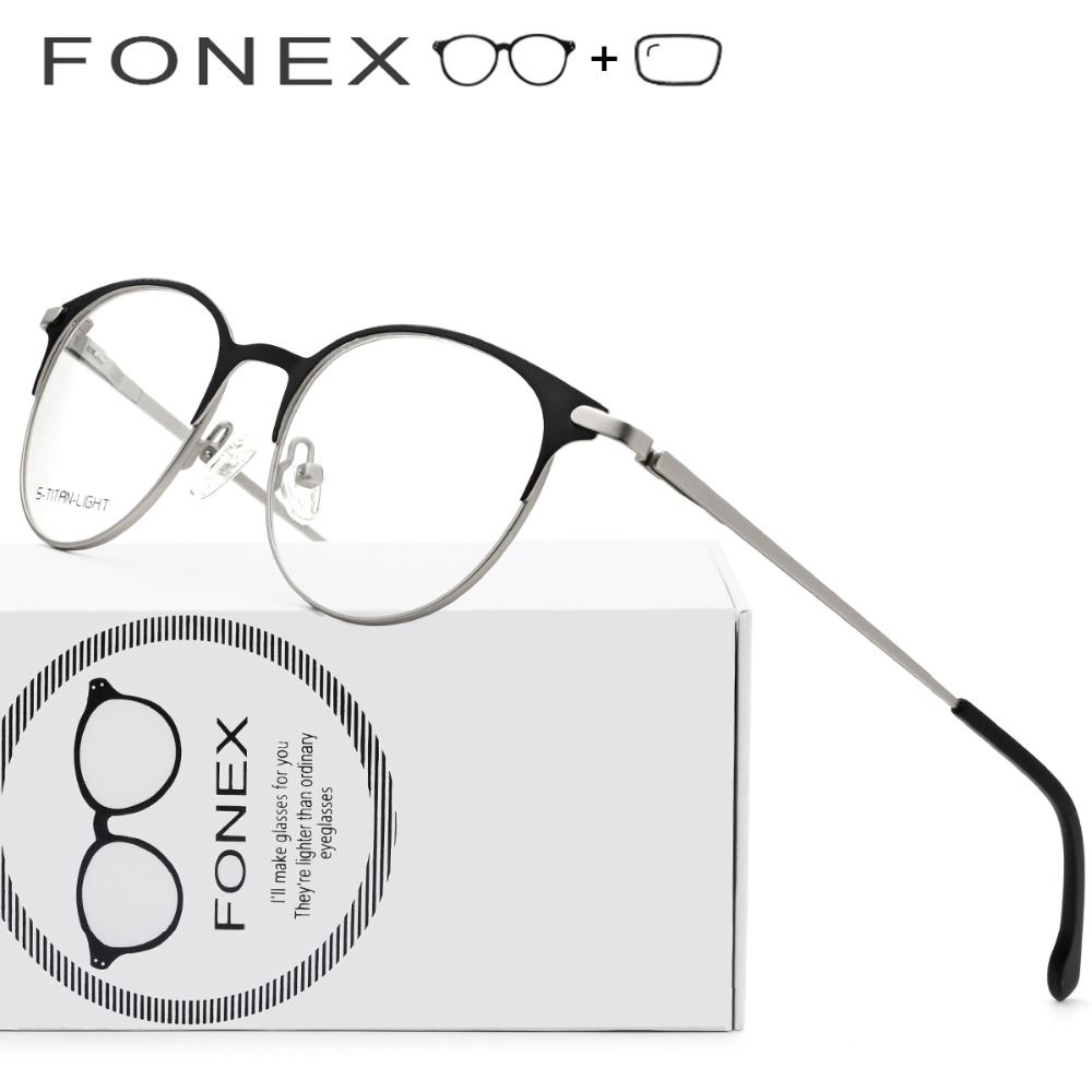 46b0530429 Titanium Alloy Prescription Glasses Frames Myopia Optical Men Women Vintage  Round Eyeglasses Retro Screwless Eyewear with Lenses
