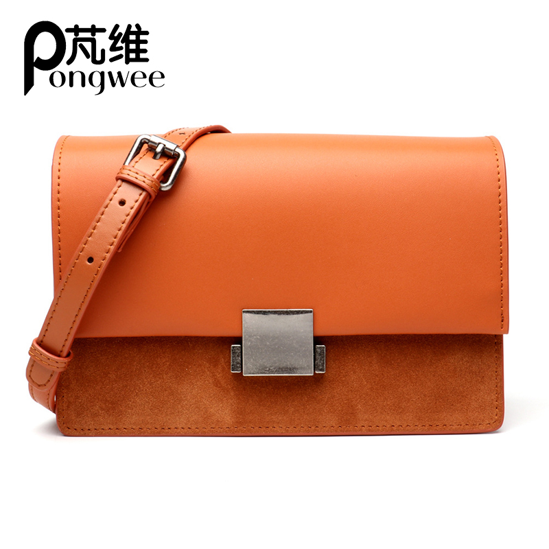 PONGWEE Genuine Leather Bags Totes Messenger Bags Real Cow Leather Ladies HandBags Women High Quality Designer Luxury Brand Bag
