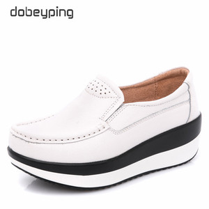 Image 3 - Dobeyping אמיתי עור אישה נעלי פלטפורמה שטוחה נשים נעלי מוקסינים נשים נעלי טריז נקבה סניקרס גבירותיי הנעלה