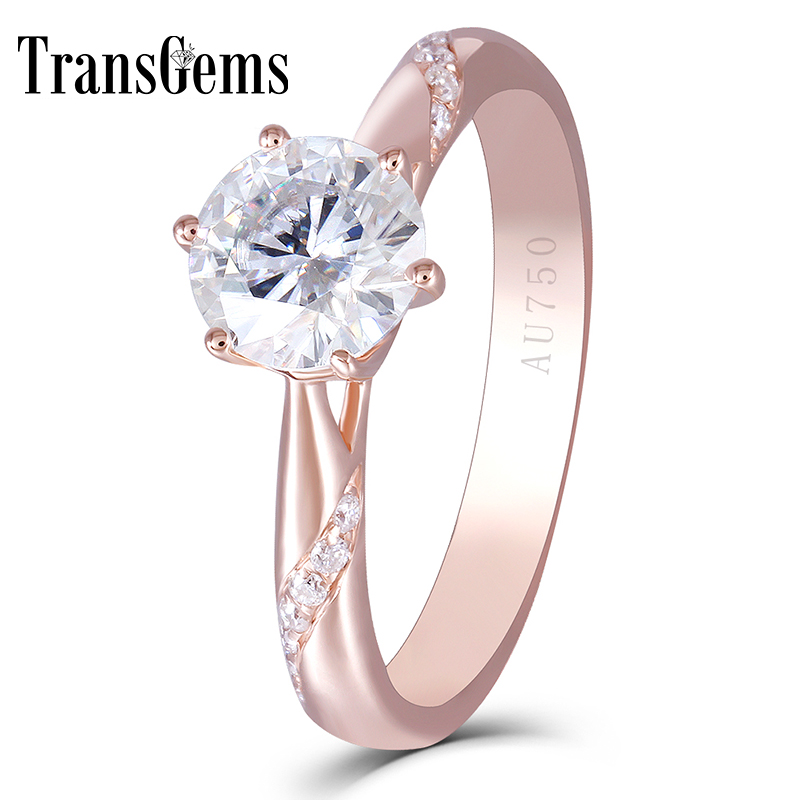 Gold Center 1ct Rose Enagement Ring for Women 14K Rose Gold 1 Carat 6.5MM F Color Moissanite Diamond with Accents цены онлайн