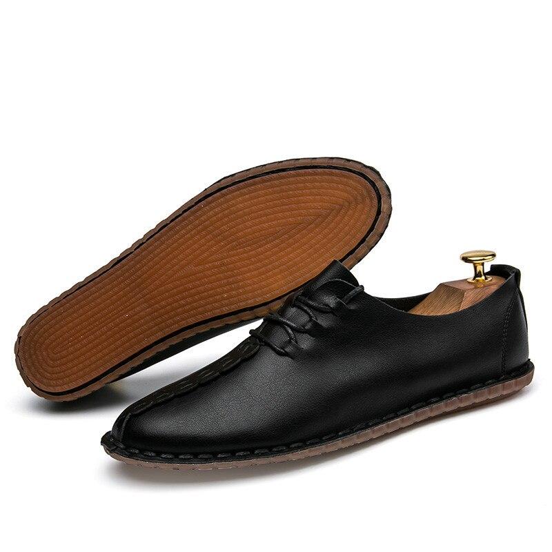 brown Mode Glissement Chaussures Casual Cuir Hommes Main Souple En Mocassins gray De Sur Black 7U5zCgxwq