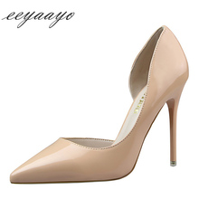 2019 New Spring/Autumn Women Pumps High Thin Heel Pointed Toe Slip-On Fretwork Sexy Office Ladies Women Shoes Nude High Heels