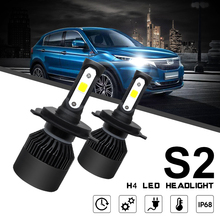 2pcs H4 H1 H7 HB2 9003 S2 72W 8000LM 6000K White Light LED Headlight High Low Beam Head Lamp for Cars Vehicles