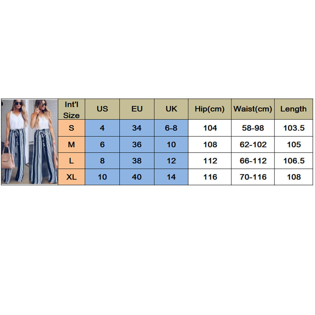 Fashion Summer Wide Leg lace up Pants Women High Waist Striped Loose Palazzo Pants Elegant Office Ladies Trousers 1