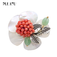 Pulatu Handmade Natural Stone Brooch Pins Austrian Crystal Natural Coral Flowers Coral Inlay Nice Fashion Brooches For Women