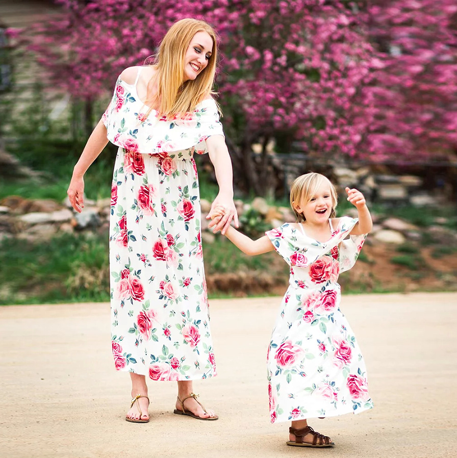 mother daughter matching clothes little girl floral casual family look sister sexy mom and daughter dress summer print fashion in Matching Family Outfits from Mother Kids