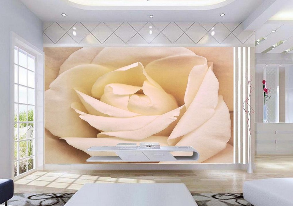 Papel tapiz de flores blancas compra lotes baratos de for Decoracion hogar 3d