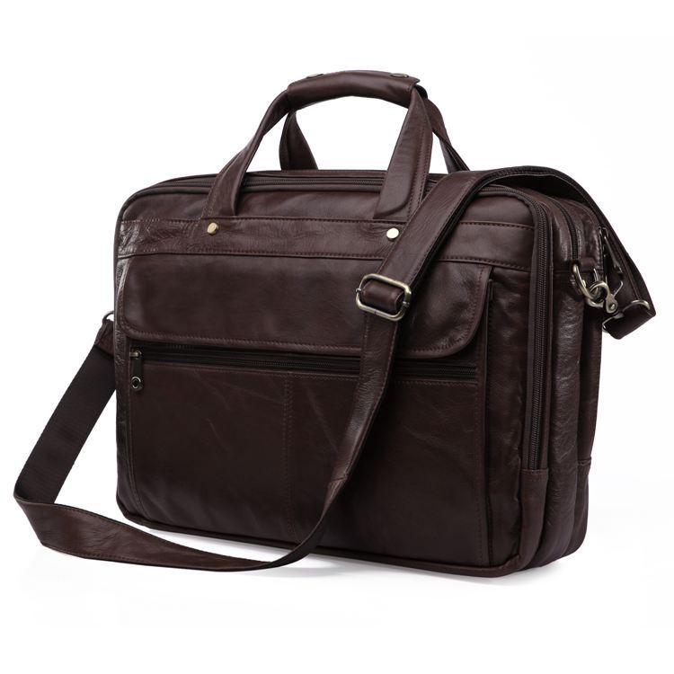 Nesitu High Quality Big Vintage Real Genuine Leather Men Briefcase 15.6 Inch Laptop Bag Men Messenger Bags Travel Bags #M7146