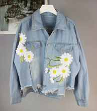 2016 Flower Embroidery Appliques Women Denim Coat Vintage Turn Down Collar Oversize Jacket Coat Tops For Women Casaco Feminino