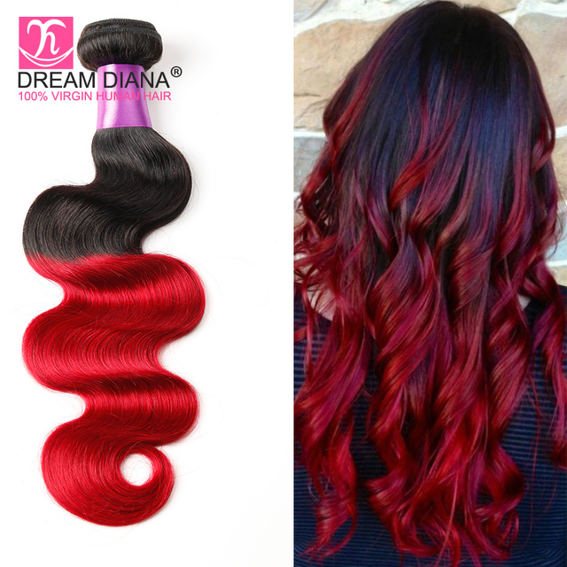 7A T1B/ BLUE 1B/ PURPLE 1B/ RED Brazilian Body Wave Ombre Brazilian Hair
