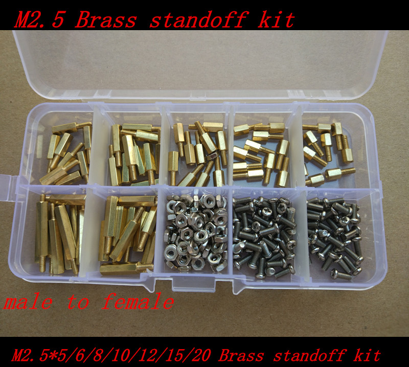 230pcs M2.5 2.5mm Brass Standoff Spacer Male x Female With M2.5*6 Pan Head Screws and m2.5 hex nut Assortment Kit m2 3 3 1pcs brass standoff 3mm spacer standard male female brass standoffs metric thread column high quality 1 piece sale