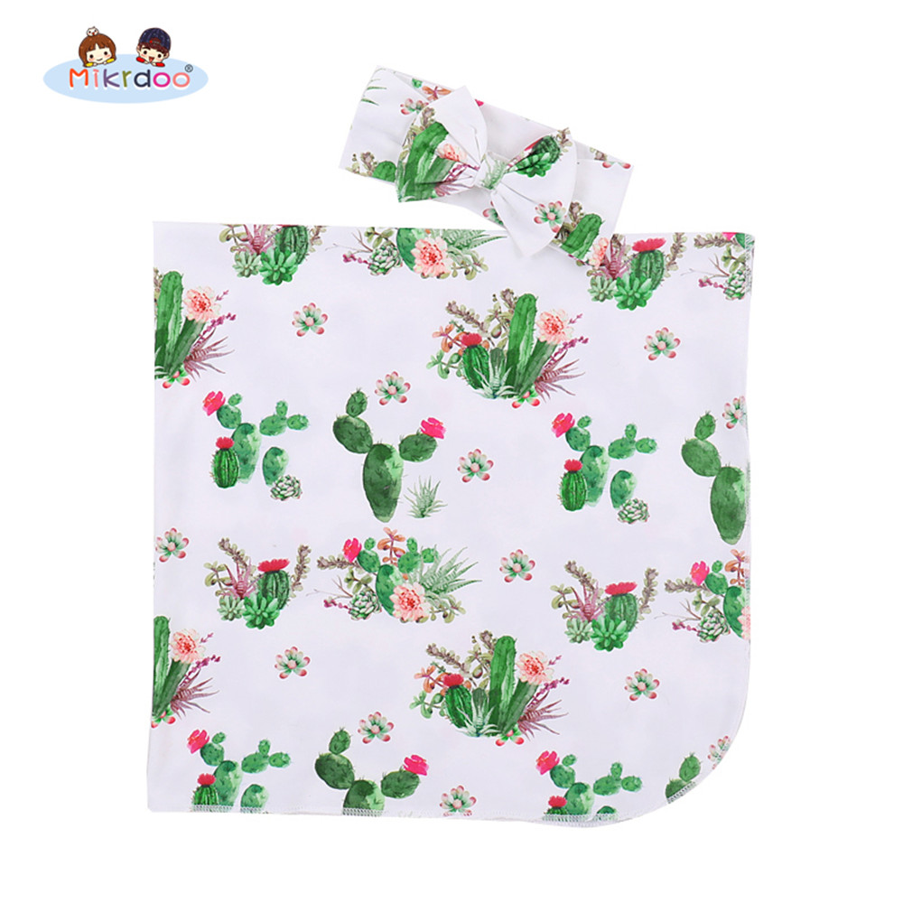 Newborn Infant Baby Boy Girl Cute Receiving Blanket Cactus Printed with Headband Cartoon Swaddle Outfit removable liner baby infant swaddle blanket 100