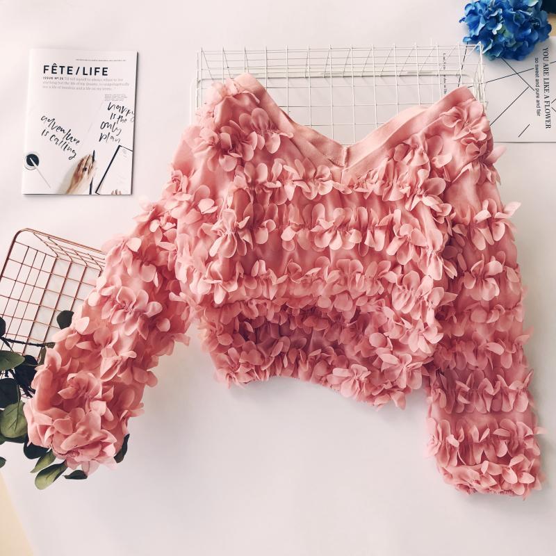3D Цветочная шифоновая прозрачная блузка с лепестками и v образным вырезом, полые рубашки с длинными рукавами фонариками и круглым вырезом, пуловеры, Короткие топы для танцев