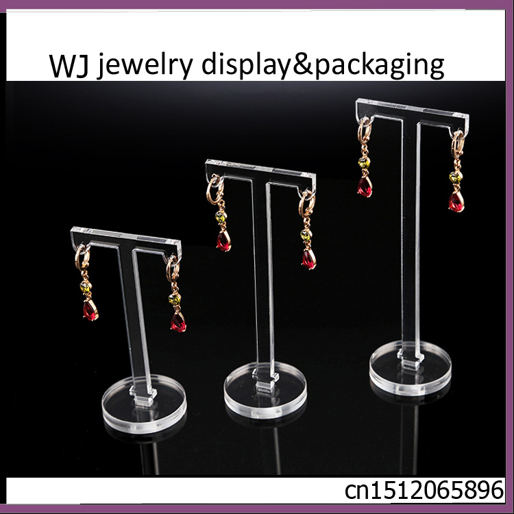 Set Of 3 Clear Acrylic T Shape Jewellery Earrings Display Holder Body Jewelry Dangling Stand Rack Countertop Showcase In Packaging