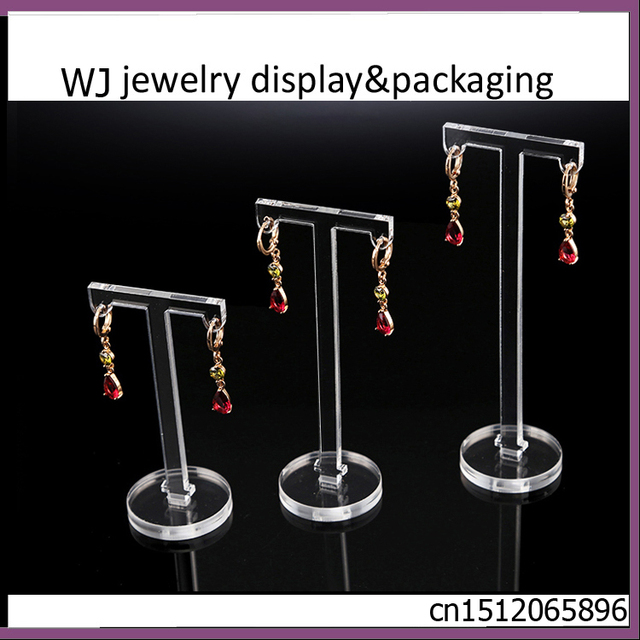 Set Of 3 Clear Acrylic T Shape Jewellery Earrings Display Holder Body Jewelry Dangling Stand