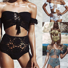 Off The Shoulder Women White Black Bathing Suits Knitted Bikini Crochet Crop Top Sexy High Waist hollow Out Crochet Swimwears