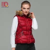2017 New Arrival Fashion Women Winter Wine Red Sleeveless Faux Cotton Padded Vest Artificial Fur Collar