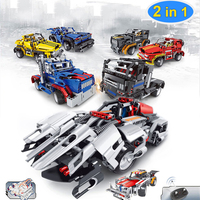 Hot Sales Remote Control RC Cars Toys Educational Creative 2 In 1 Electric DIY Assembled Building Blocks Car Xmas Gifts For Kids