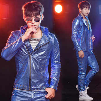 Jazz Stage Costume Hip Hop Men Nightclub Rivet Dancer Outfit DJ DS Singers Gogo Pole Dance Performance Rave Clothes DNV10484