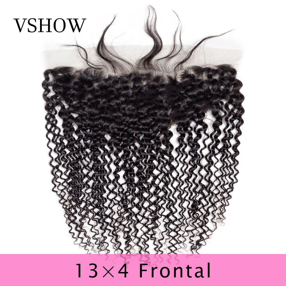 100% Human Hair Extensions Kinky Curly Lace Frontal Closure 13*4 Lace Closure Remy 8-20 Inch Natural Color VSHOW Hair Products
